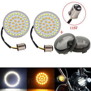 1157-LED-Luces-intermitentes-Inserciones-de-luz-Lente-humo-Harley-Street-Glide