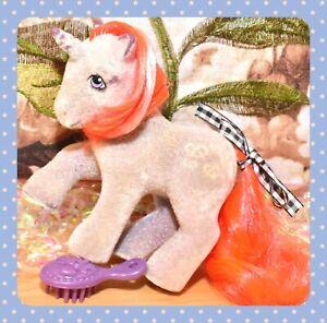My-Little-Pony-MLP-G1-Vtg-So-Soft-Twist-Pretzel-Flocked-Fuzzy-Unicorn