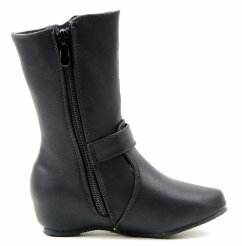 Little Girls Quilted Mid Calf Tall Riding Hidden Wedge Heel Toddler Cowboy Boots