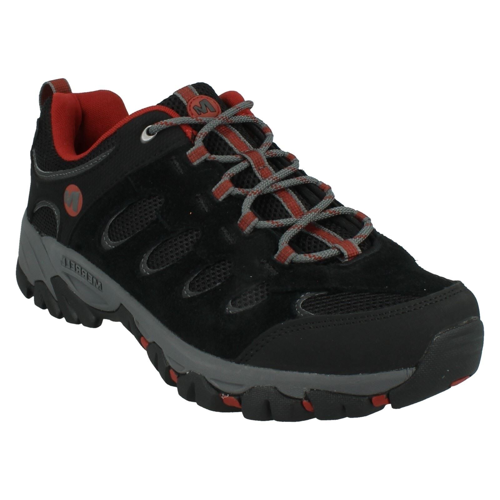 Hombre MERRELL LACE UP SUEDE Negro/RED WALKING WALKING WALKING HIKING TRAINERS Zapatos RIDGEPASS 0307ea