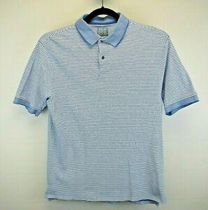 Jos. A Bank S/S Men's Medium Golf Polo Shirt Blue White Stripe Stays Cool