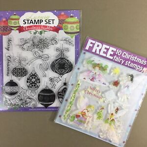 Lot-of-2-sets-of-Clear-Stamps-Christmas-Fairies-Fairy-Set-amp-Christmas-Baubles