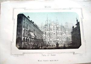 1830-LITOGRAFIA-DIPINTA-CON-VEDUTA-DI-PIAZZA-DEL-DUOMO-DI-MILANO