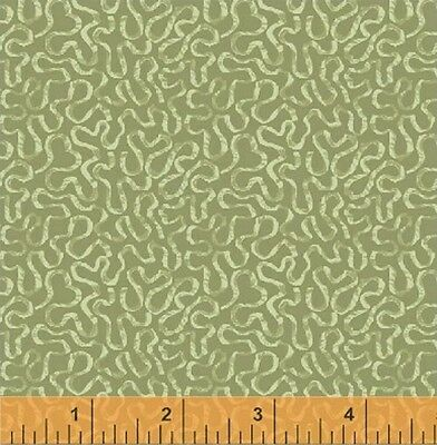 """Windham Middleton Place Green Ribbon Swirl Floral Tone Quilt Fabric 33"""" Remnant"""