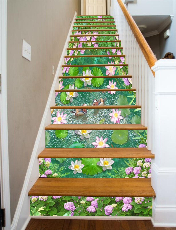 3D Lotus blueme 4367 Stair Risers Dekoration Fototapete Vinyl Aufkleber Tapete DE