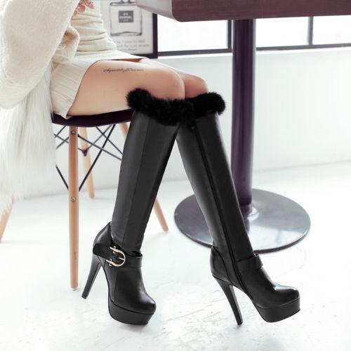 Bottes Cuisse Femme Talon Aiguilles 12.5 cm noir Confortable Cuir Synthetique