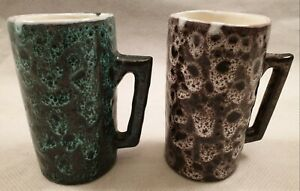 Vintage-West-German-Style-Pottery-Lava-Glazed-Mugs-Tall-Cylindrical-1960s-1970s