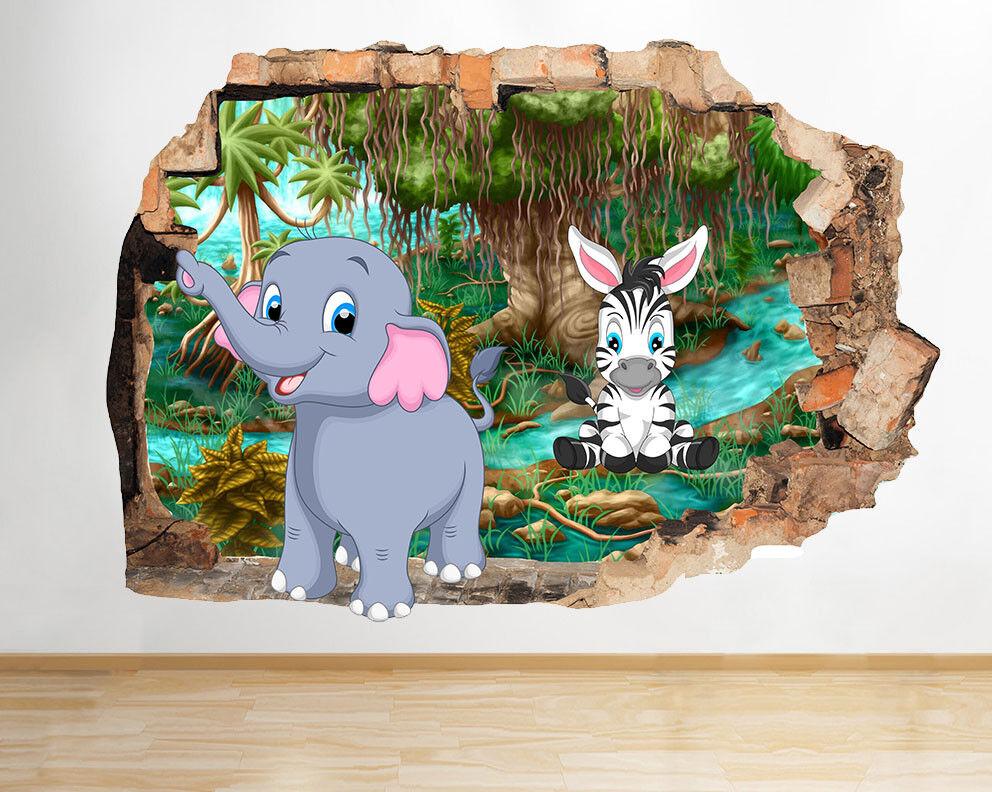 M766 M766 M766 ELEFANTE ZEBRA Giungla Bambini rossoto murali 3D ARTE Adesivi Vinile Stanza 286aad