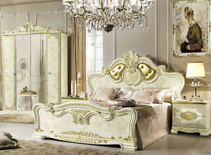 Schlafzimmer Komplett Set 4teile Barock Stil Beige Hochglanz Italienische Mobel Ebay