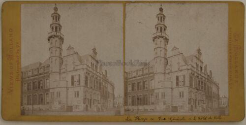 Niederlande Den Haag Rathaus Rat- Foto Stereo Vintage Albumin c1870