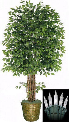 Artificial 8' Ficus Tree Plant Basket Arrangement Topiary & Christmas Lights 96""