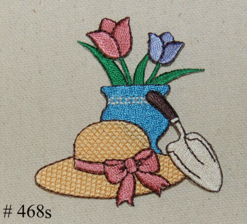 1PC~SM GARDENING HAT FLOWER /& SHOVEL~IRON ON PATCH