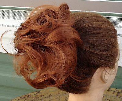 Ginger copper red fake pony tail bun elastic hair piece extension scrunch new