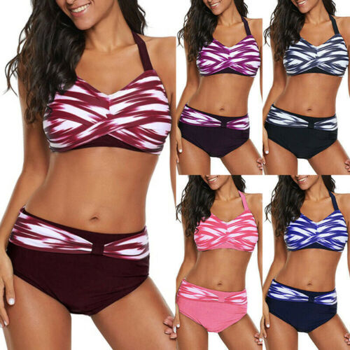 Damen Bandage Bikini Set Push-up Gepolsterter Bh Riemchen Bademode Badeanzug FL