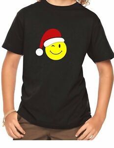 Youth-Emoticon-Santa-T-Shirt-Christmas-Xmas-Tee-Gift-Funny-Emoji-Shirt-Boy-Girl
