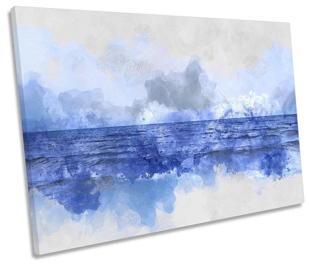 Blau Ocean Seascape SINGLE CANVAS WALL ARTWORK Print Art