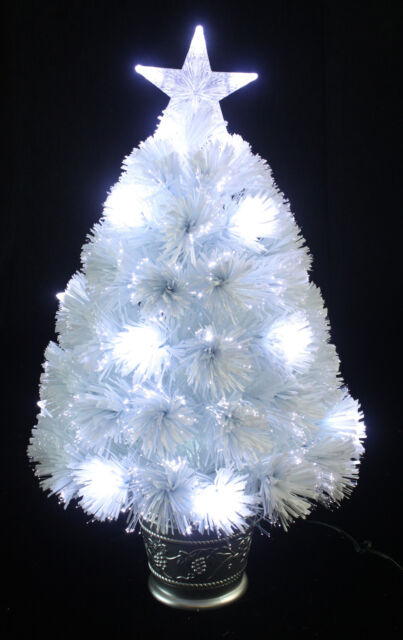 Fibre Optic Christmas Tree With Baubles.2ft White Fibre Optic Christmas Tree Xmas Led Lights 60cm With Star Silver Pot