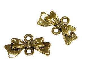 10-Metall-Anhaenger-Verbinder-Fliege-Gold-20mm-Metallperlen-Schmuck-Charm-F23
