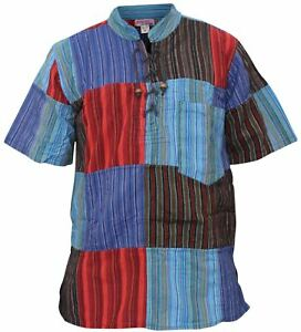 Mens-Short-Sleeved-Colorful-Hippie-Grandad-Shirt-Summer-Festival-Cotton-Men-Tops