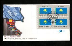 Onu Nations Unies Fdc Ny #696 Mi4 Apnu Cachet Drapeau Série Kazakstan 1997-afficher Le Titre D'origine