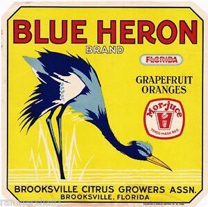 Brooksville-Florida-Blue-Heron-Bird-2-Orange-Citrus-Fruit-Crate-Label-Art-Print