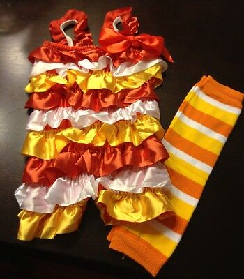 Halloween Candy Corn Romper With Leg Warmers