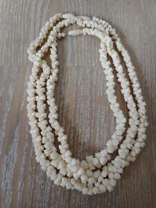 Collier Ethnique Bijou Perle Os Bovin Necklace Bone Bovine Afrique Africa Carved