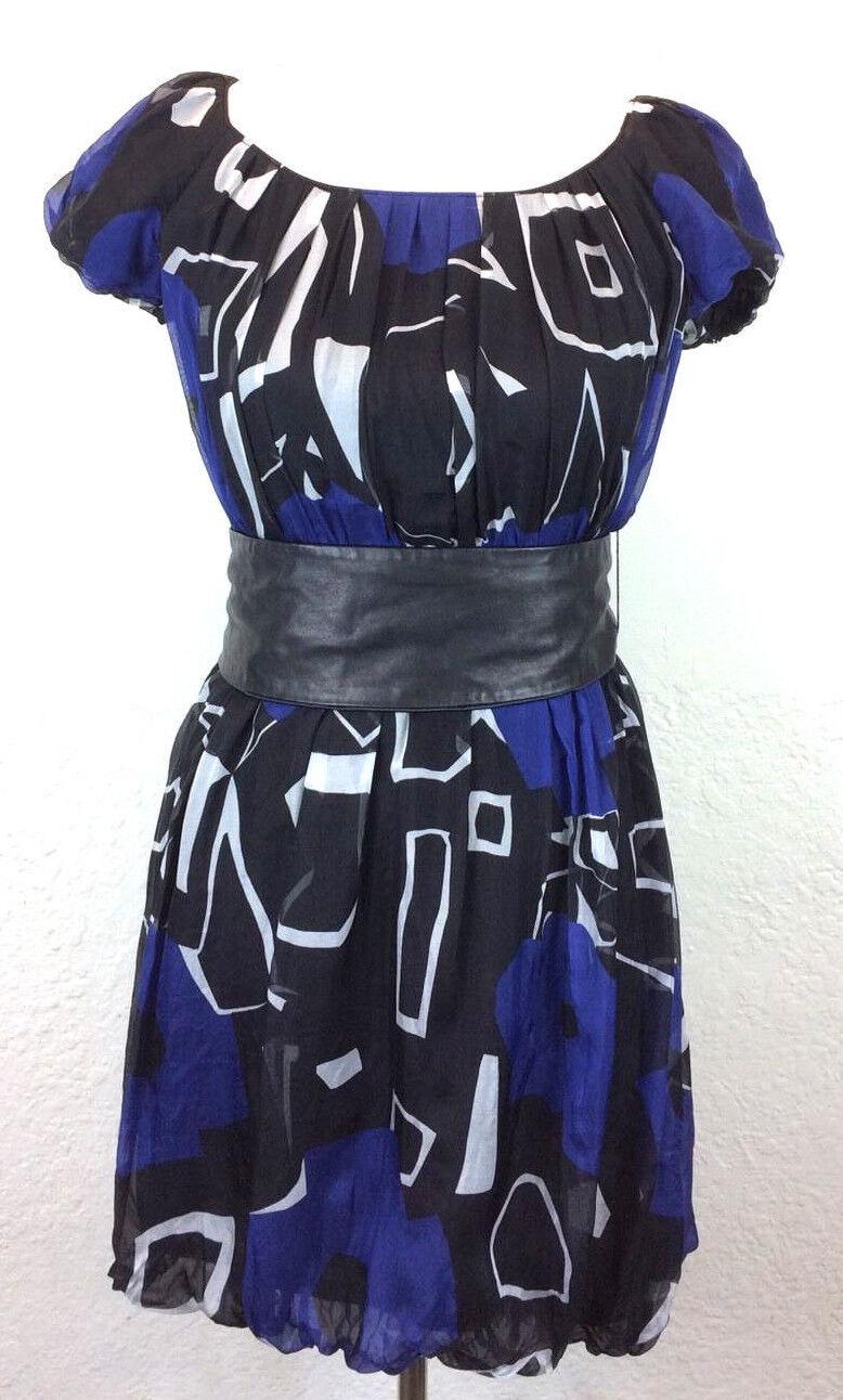S31 Theory Petite S Azuri Acute 100% Silk Belted Bubble Dress bluee Geometric