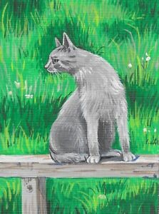 1.5x2 DOLLHOUSE MINIATURE PRINT OF PAINTING RYTA 1:12 SCALE RAVEN CROW GRAY CAT
