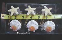 Starfish & Shell Shower Curtain Hooks 12 Painted Resin - Ocean Beach -