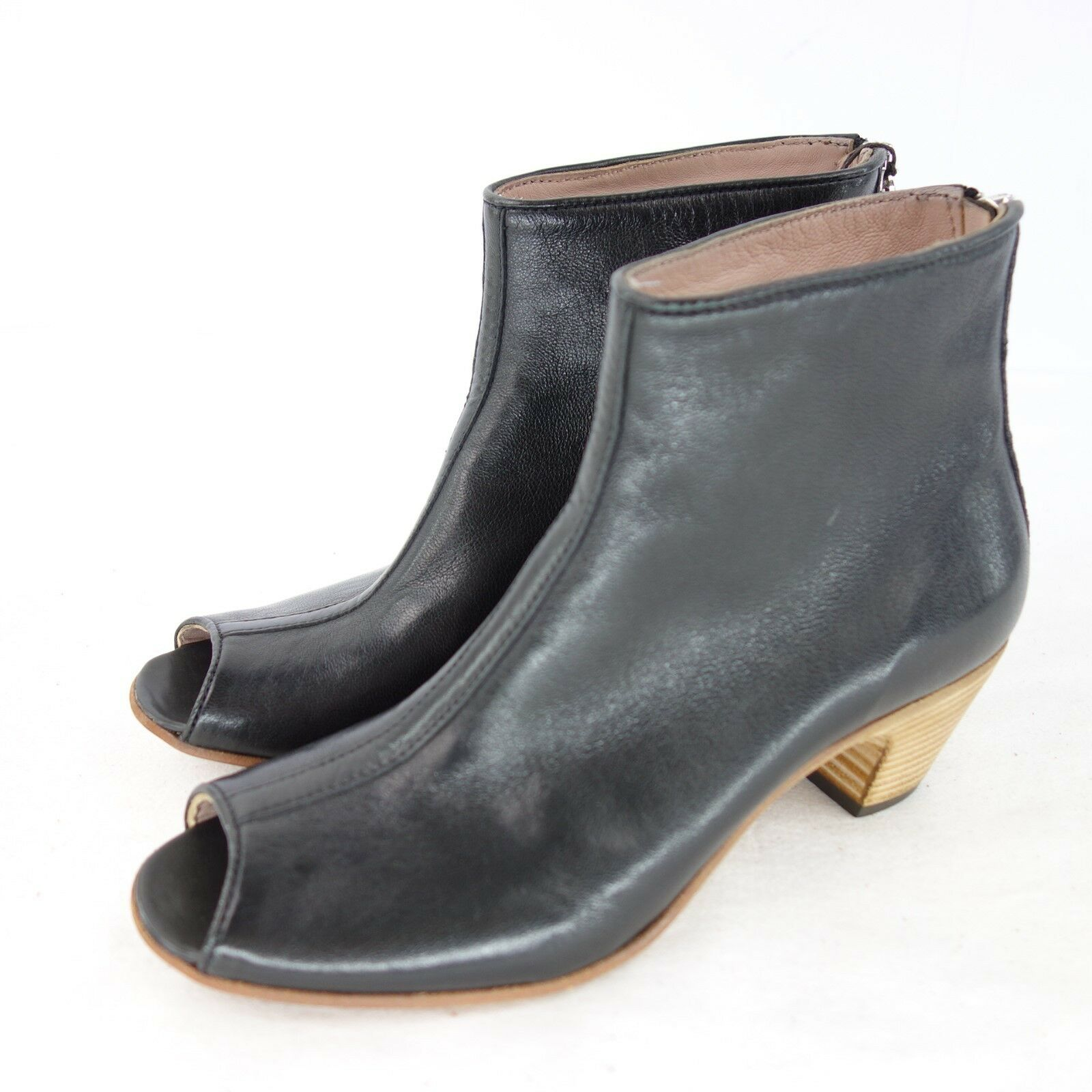 CORVBNI Damen Schuhe Bnkle Stiefeletten Stiefel Gr 37 Schwarz Leder NP 189 NEU