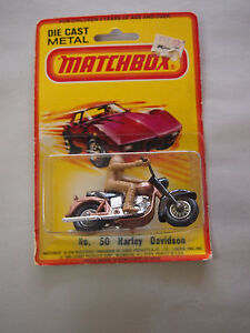1980-Lesney-Matchbox-Harley-Davidson-Motorcyle-with-Rider-RARE-No-50