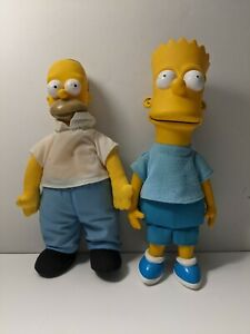 Vintage Homer and Bart Simpson Toy Plush Doll 20th Century Fox Matt Groening