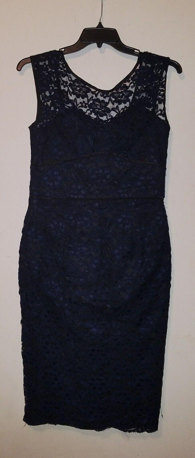 NWOT Maggy London Scoop Back Lace Dress Navy Blau  sz 12