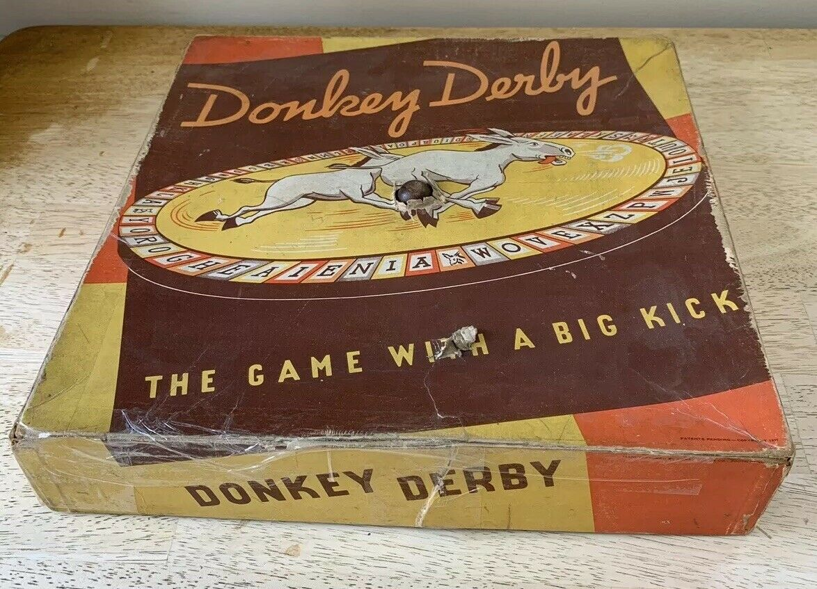 Vintage RARE Donkey Derby Boardgame 1937 Derby Games South Bend Illinois