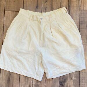 Tommy Bahama 100% Silk Yellow Pleated High Waist Women's Bermuda Shorts size 10