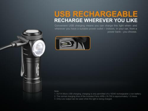 Fenix LD15R 500 Lumen Right Angle White /& Red LED Rechargeable Mini Flashlight