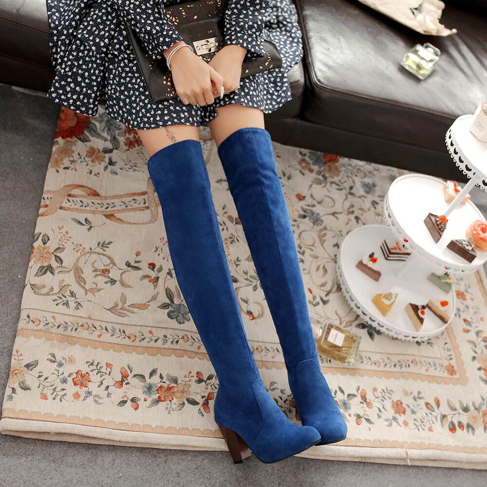 la Gris femme est noir / Bleu  - Gris la  / Rouge  faux suède grande taille de c ha ussu res bottes talon au bloc 39b35e