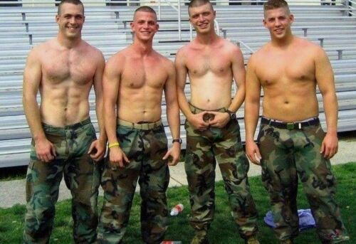 Shirtless Male Beefcake Muscular Military Hunk Line Up Recruits PHOTO 4X6 F609