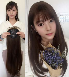 Popular-New-Synthetic-Hair-Topper-Top-Toupee-Hairpiece-with-Hair-Bangs-for-Women