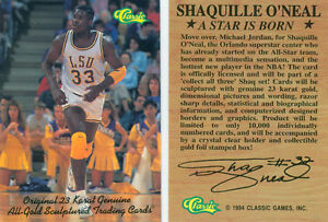 Lot-of-50-SHAQUILLE-O-039-NEAL-LSU-WHITE-CLASSIC-PROMO-ROOKIE-CARD