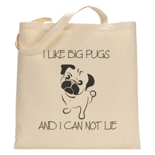 I Like Big Pugs /& I Can Not Lie Pug Dog Lover Tote Bag Funny Shopping Bag