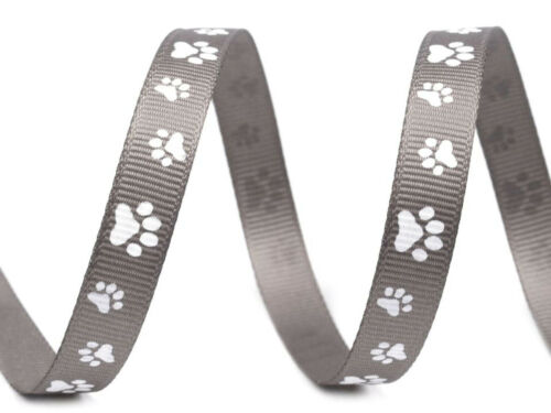 2m*10mm Ripsband Tatze 0,60€//m Gurtband bedruckt Halsband