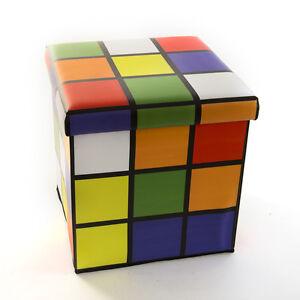 RUBIKS CUBE Folding STORAGE BOX SEAT Ottoman Cube Foot Stool Home