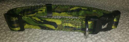 Collar de Perro Cachorro Ejército Camo Print Verde Camuflaje Rosa Pequeño Mediano Grande