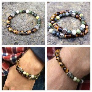 Tigers Eye Green Connemara Marble Mens Bracelet Irish