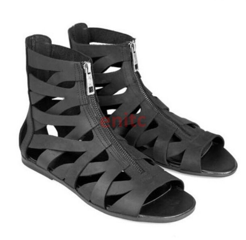 Btitish Leather Strappy Roman Gladiator High Top Uomo Outdoor Beach Sandal Shoes