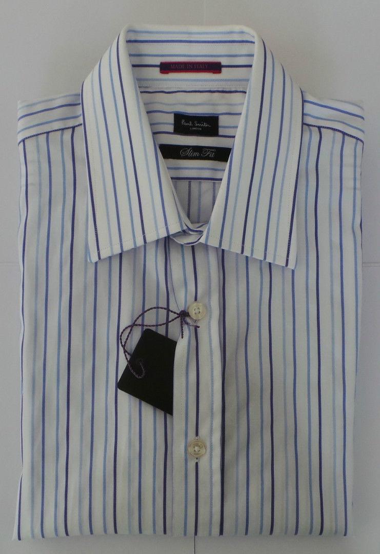 Paul Smith Camicia Taglia 15 Medio Strisce BLU CIELO SLIM FIT