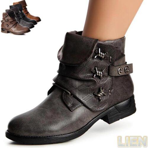 Damenschuhe Biker Boots Stiefeletten Stiefel Booties Worker Boots Schnürboots