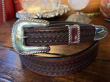"""Sterling silver 925 Granada buckle 42 grams w//Genuine Lizard-1.3//8/"""" belt U.S.A."""